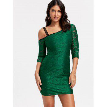Floral Lace Skew Neck Bodycon Dress - 2XL 2XL