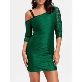 Floral Lace Skew Neck Bodycon Dress - GREEN 2XL