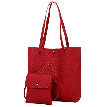 Rivet 2 Pieces Shoulder Bag Set - RED RED