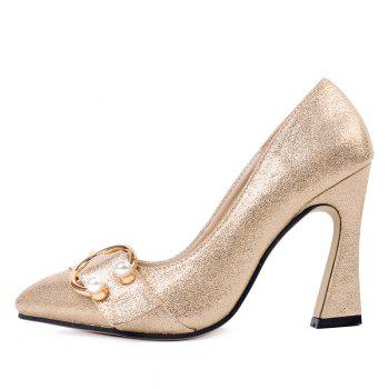 Faux Pear Metal Ring Glitter Pumps - GOLDEN GOLDEN