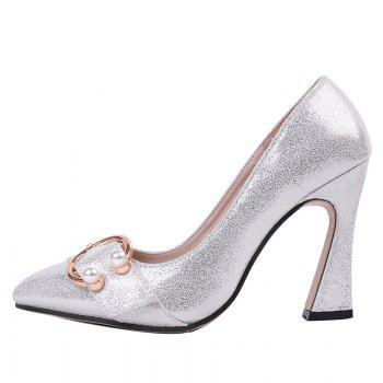 Faux Pear Metal Ring Glitter Pumps - SILVER 40
