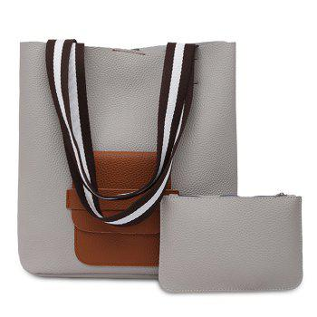 Color Block 2 Pieces Shoulder Bag Set - LIGHT GRAY LIGHT GRAY