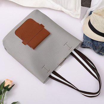 Color Block 2 Pieces Shoulder Bag Set -  LIGHT GRAY