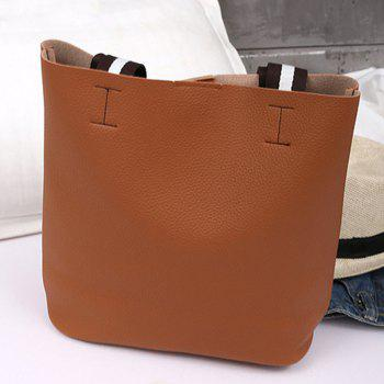 Color Block 2 Pieces Shoulder Bag Set - BROWN