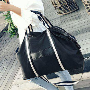 Nylon Zip Color Block Shoulder Bag -  BLACK