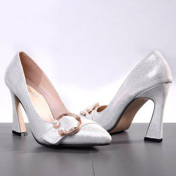 Faux Pear Metal Ring Glitter Pumps - SILVER 36