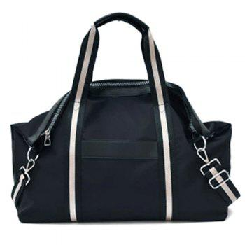 Nylon Zip Color Block Shoulder Bag - BLACK BLACK