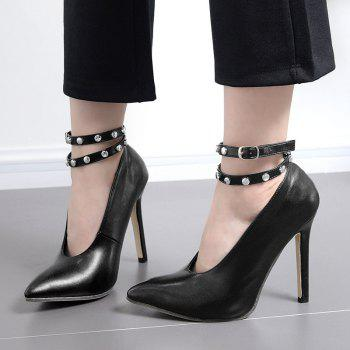 Studs Ankle Strap Point Toe Pumps - 35 35