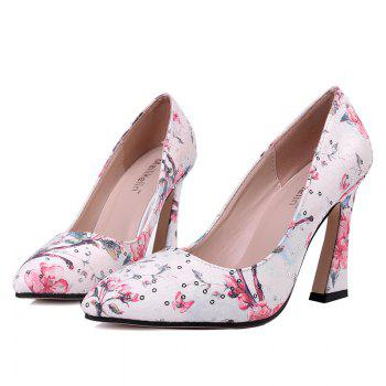 Floral Sequined High Heel Pumps - RED 37