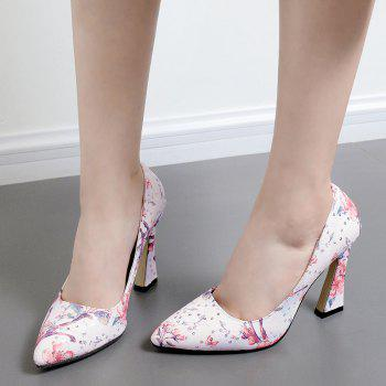Floral Sequined High Heel Pumps - 37 37