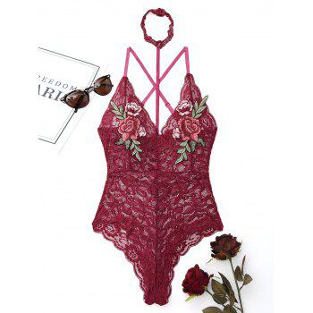 Lace Flower Embroidered Choker Teddy - WINE RED WINE RED