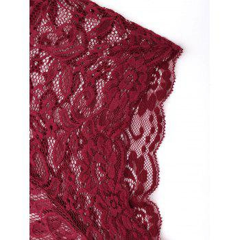 Lace Flower Embroidered Choker Teddy - WINE RED M