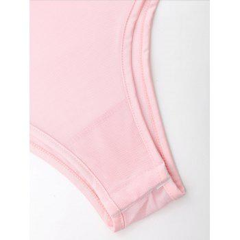 Spaghetti Strap Mesh Embroidered Teddy - PINK S