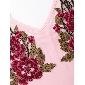 Spaghetti Strap Mesh Embroidered Teddy - PINK M