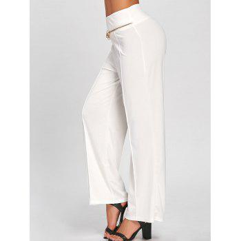 Metallic Zip High Waisted Wide Leg Pants - S S