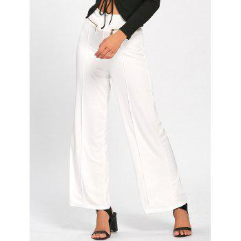Metallic Zip High Waisted Wide Leg Pants - WHITE S