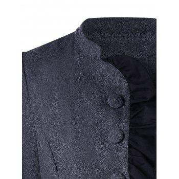 Ruffle Layered Coat - DEEP GRAY M