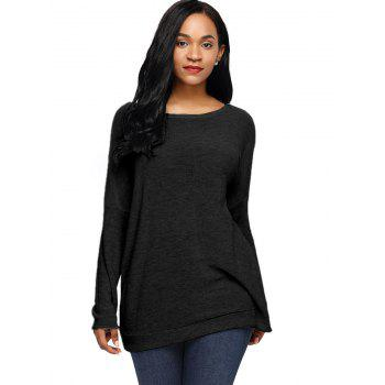 Dolman Sleeve Back Twisted Cut Out Tricots - Noir M