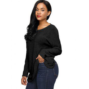 Dolman Sleeve Back Twisted Cut Out Tricots - Noir XL