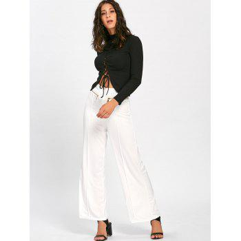 Metallic Zip High Waisted Wide Leg Pants - WHITE 2XL