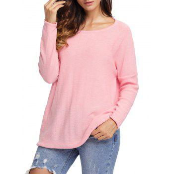 Dolman Sleeve Back Twisted Cut Out Tricots - ROSE PÂLE XL