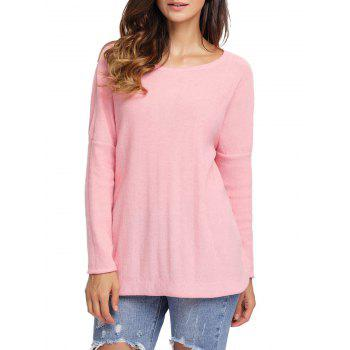 Dolman Sleeve Back Twisted Cut Out Tricots - ROSE PÂLE S