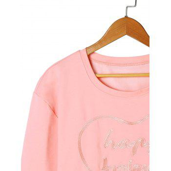 Letter Embroidery T-shirt - LIGHT PINK LIGHT PINK