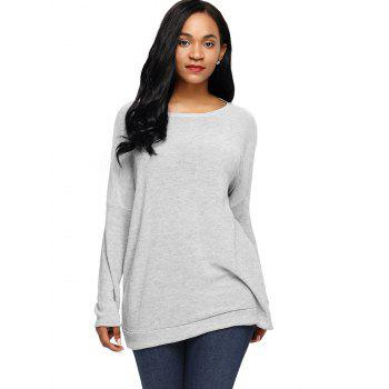 Dolman Sleeve Back Twisted Cut Out Tricots - Gris XL