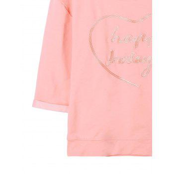 Letter Embroidery T-shirt - LIGHT PINK L