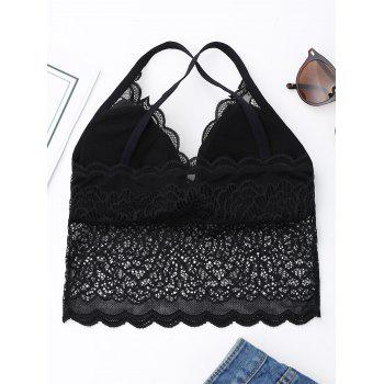 Criss Cross Lace Bralette Top - ONE SIZE ONE SIZE