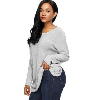 Dolman Sleeve Back Twisted Cut Out Tricots - Gris M