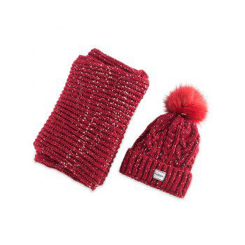 Hemp Flower Knitted Pom Hat and Scarf - RED RED