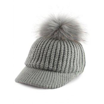 Outdoor Knit Baseball Hat with Pom Ball Embellished - GRAY GRAY