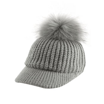 Outdoor Knit Baseball Hat with Pom Ball Embellished -  GRAY