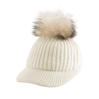 Outdoor Knit Baseball Hat with Pom Ball Embellished - OFF WHITE