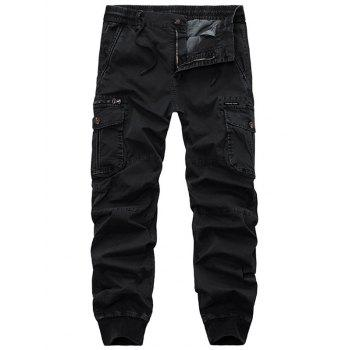 Flap Pockets Beam Feet Zip Fly Cargo Pants - BLACK 38