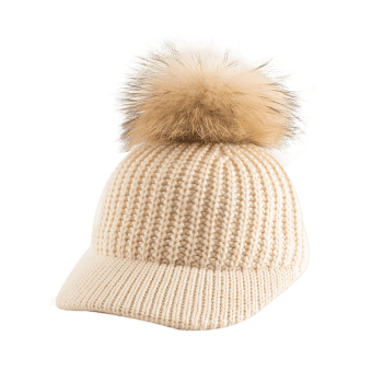 Outdoor Knit Baseball Hat with Pom Ball Embellished - PALOMINO