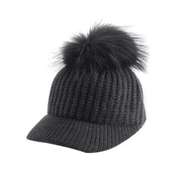 Outdoor Knit Baseball Hat with Pom Ball Embellished -  BLACK