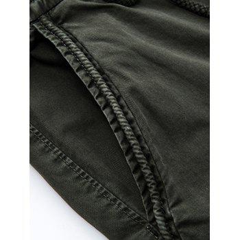 Flap Pockets Beam Feet Zip Fly Cargo Pants - BLACK 36