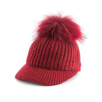 Outdoor Knit Baseball Hat with Pom Ball Embellished - RED RED