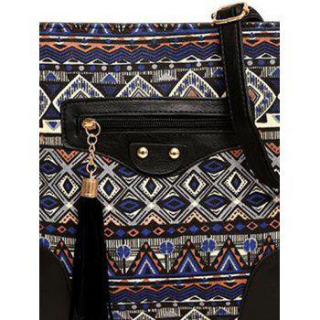 Tribal Print Tassel Crossbody Bag - BLUE