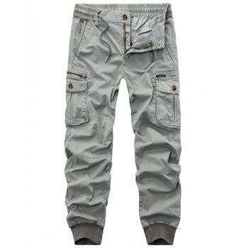 Flap Pockets Beam Feet Zip Fly Cargo Pants - LIGHT GRAY 32