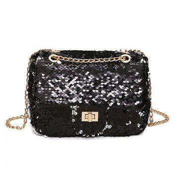 Sparkle Chain Crossbody Bag - BLACK BLACK