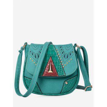 Hollow Out Geometric Rivet Crossbody Bag - LAKE BLUE LAKE BLUE