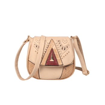 Hollow Out Geometric Rivet Crossbody Bag - BEIGE