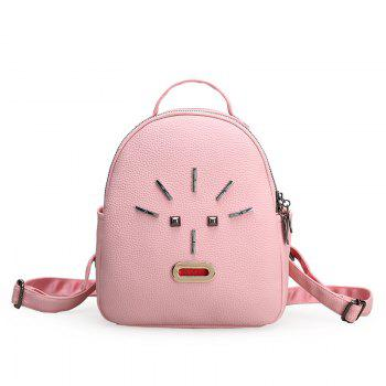 Metal PU Leather Stud Backpack - PINK PINK