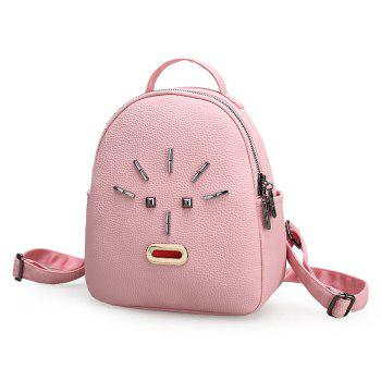 Metal PU Leather Stud Backpack -  PINK