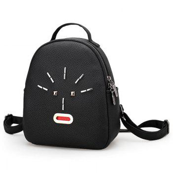 Metal PU Leather Stud Backpack - BLACK BLACK