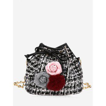 Pom Pom Flower Plaid Drawstring Crossbody Bag - BLACK BLACK