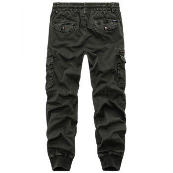 Flap Pockets Beam Feet Zip Fly Cargo Pants - ARMY GREEN 34